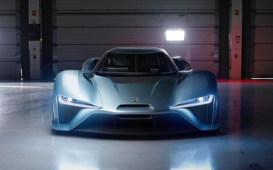 Photo free view from front, electric supercar, front view