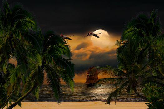 Фото бесплатно море, небо, луна