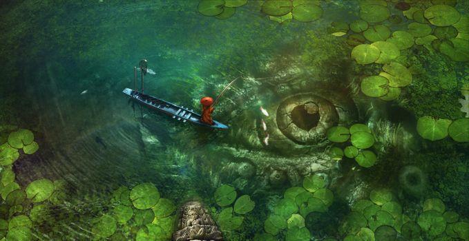 Фото бесплатно аниме рыбная ловля, лодка, традиционная одежда
