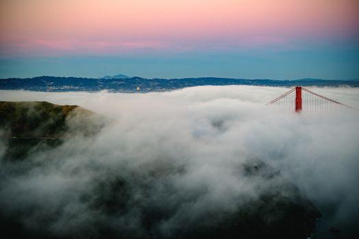 Заставки мост Золотые ворота, туман, мост