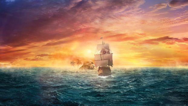 Photo free sailing vessel, sunset, ocean