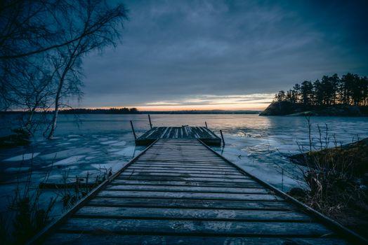 Заставки Скандинавия, закат, озеро