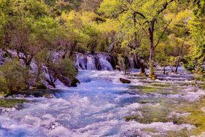 Заставки осень,река,водопад,деревья,течение,природа,пейзаж