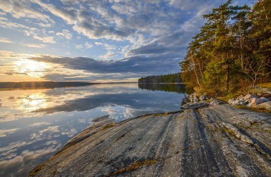 Заставки Меларен Озеро, Sweden, закат