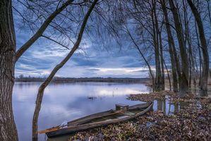 Бесплатные фото закат, река, лодка, деревья, берег, Ферментелуш, Португалия