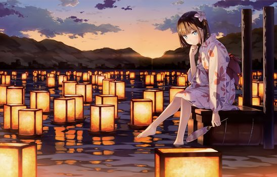 Photo free anime girl, kantoku, lanterns