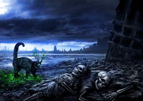 Фото бесплатно сумерки, остров, тучи, берег, скелеты, кот, фэнтези