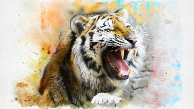 Photo free tiger, roar, artwork
