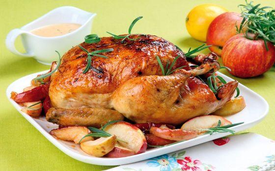 Фото бесплатно жареная курица, пластины, яблоки