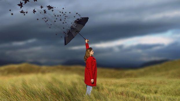 Photo free woman, umbrella, art
