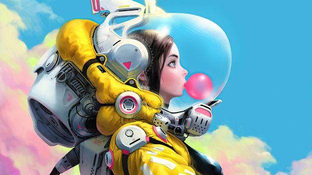 Фото бесплатно астронавт, художник, произведение искусства