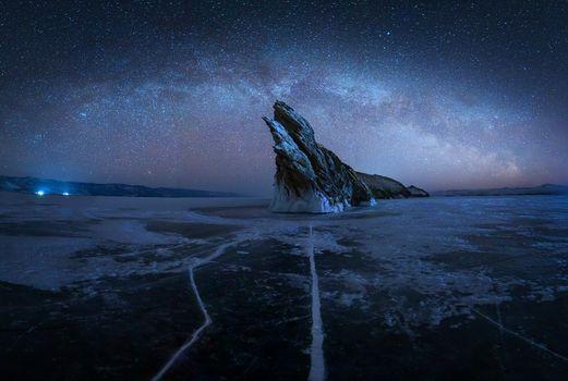 Photo free Milky way, Baikal lake, Russia