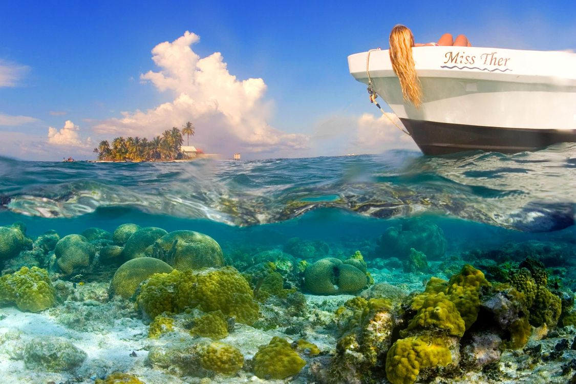 Фото бесплатно тропики, море, остров, лодка, девушка, отдых, пейзажи