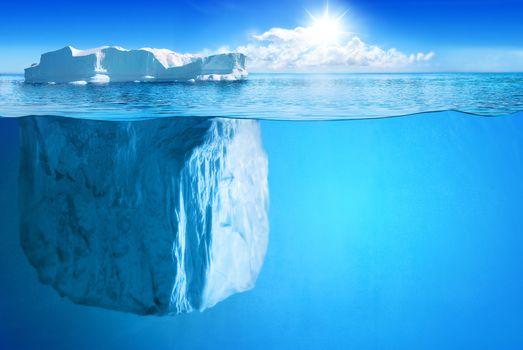 Фото бесплатно айсберг, подводный, солнечный свет