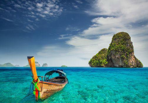 Заставки облака, тропический остров, лодка
