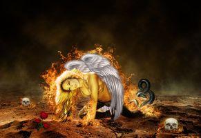 Фото бесплатно ангел, девушка, огонь