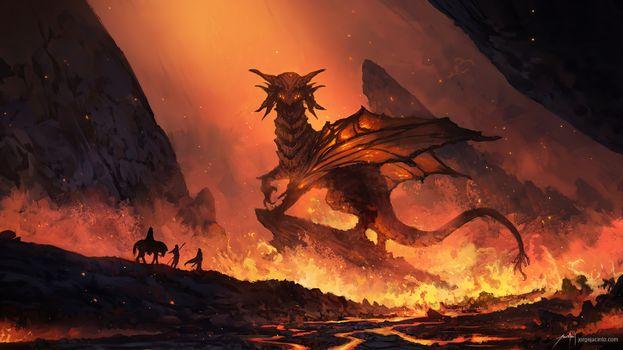 Фото бесплатно дракон, художник, произведение искусства
