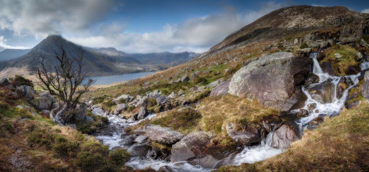 Фото бесплатно Великобритания, каменистый ручей, панорамный