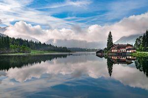 Заставки озеро,размышления,небо,облако,природа,воды,пустыня