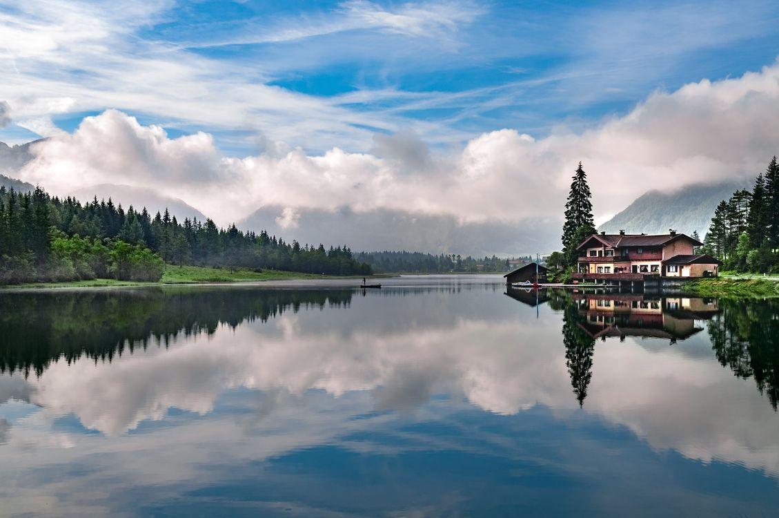 Обои озеро, размышления, небо, облако, природа, воды, пустыня, резервуар, утро, монтировать декорации, гора, дерево, спокойствие, дневное время, банка на телефон | картинки пейзажи