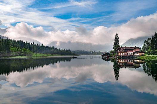 Заставки озеро,размышления,небо,облако,природа,воды,пустыня,резервуар,утро,монтировать декорации,гора,дерево