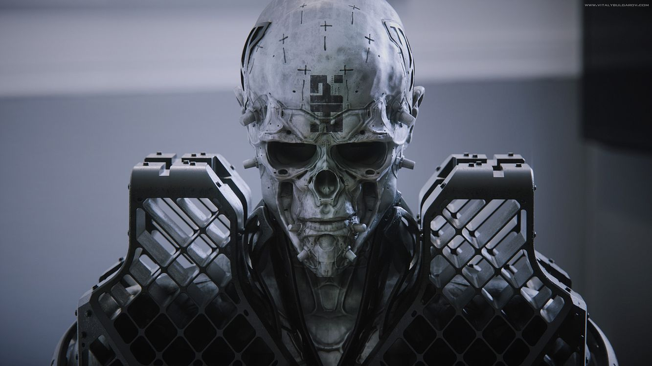 Фото бесплатно фантастика, череп, бронированный, робот, футуристический, витальный булгаров, фантастика