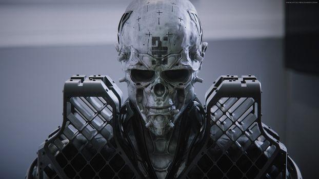 Заставки фантастика, череп, бронированный