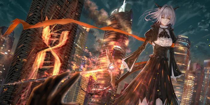Фото бесплатно небоскреб, аниме-игры, копье