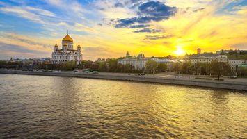 Обои Moscow, Russia Москва, Россия, собор Христа Спасителя, закат