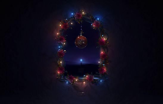Photo free night, christmas tree, christmas