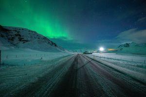 Фото бесплатно ночь, северное сияние, дорога