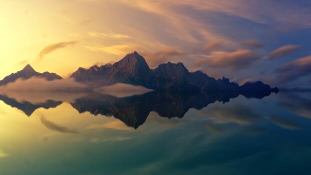 Фото бесплатно обои закат, горы, отражение