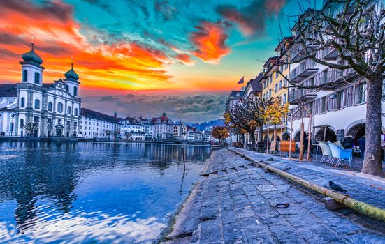 Photo free Luzern, sunset, the Church of the Jesuits