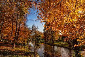 Бесплатные фото Нидерланды,Амерсфорт,река,канал,осень,деревья,парк