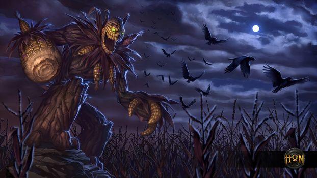 Фото бесплатно ночь, луна, кукурузное поле