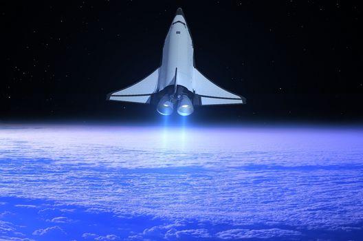 Photo free shuttle, earth, stars