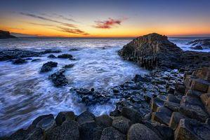 Бесплатные фото закат,море,волны,берег,скалы,пейзаж