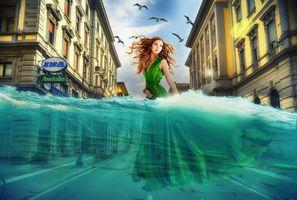 Бесплатные фото город,вода,дома,девушка,изменение климата,фотошоп,фантазия