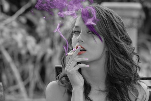 Photo free Malena Morgan, girl, cigarette