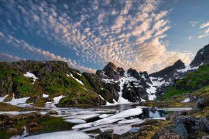 Фото бесплатно облака, фьорд, горы