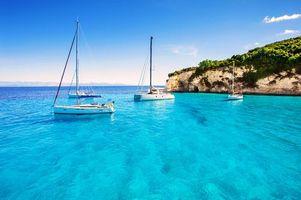 Обои море, яхты, остров