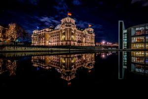 Бесплатные фото Берлин,Рейхстаг,Германия,ночь