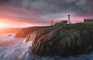 Бесплатные фото Пуэнт-де-Сен-Матье, Бретань, Франция, закат, море, волны, маяк