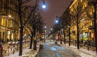 Бесплатные фото Санкт-Петербург огни города Зимние Дождь Большая Конюшенная Уличный Оттепель