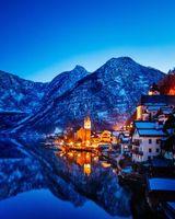 Заставки Hallstatt, Austria, Гальштат, Австрия, горы, ночь, огни, иллюминация