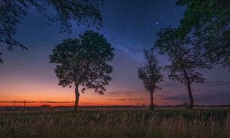 Бесплатные фото закат,свечение,сияние,поле,деревья,пейзаж