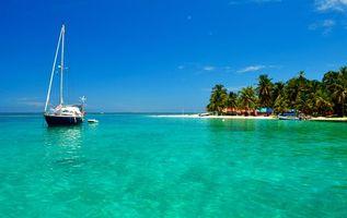 Фото бесплатно тропики, море, остров, пляж, яхта
