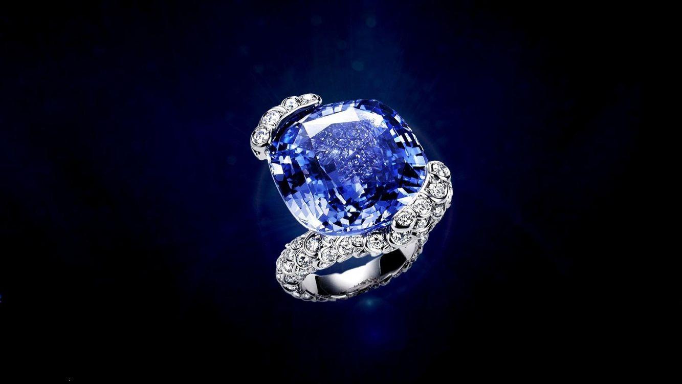 Картинка украшение, кольцо, diamond, камень, синий, сапфир на рабочий стол. Скачать фото обои разное