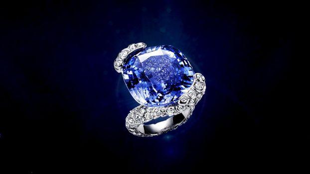 украшение, кольцо, diamond, камень, синий