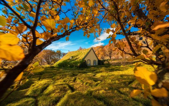 Photo free Iceland, Church, autumn